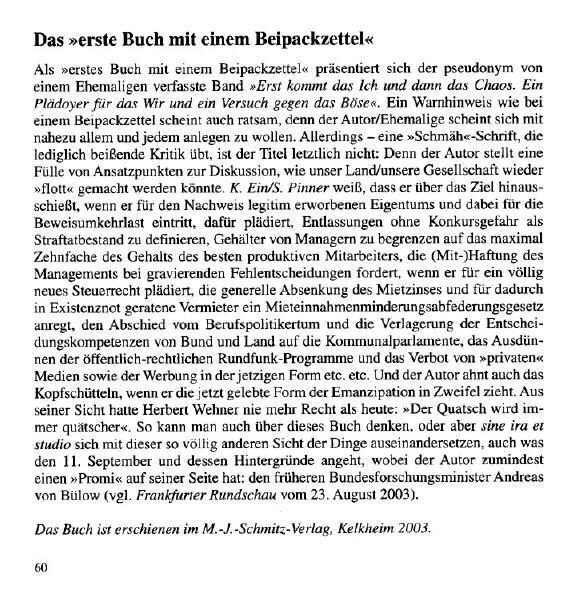 """epistula"""" - Mitteilungsblatt der Ehemaligen des Landgraf-Ludwigs-Gymnasiums Gießen, Juni 2004, S. 60"""